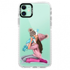 Silikonové pouzdro Bumper iSaprio - Kissing Mom - Brunette and Boy - iPhone 11